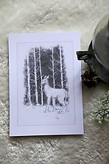 Kresby - Srnka medzi kmeňmi stromov Art Print - 11944685_