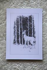 Kresby - Srnka medzi kmeňmi stromov Art Print - 11944686_