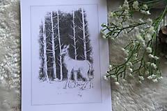 Kresby - Srnka medzi kmeňmi stromov Art Print - 11944688_