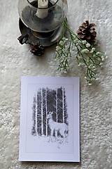 Kresby - Srnka medzi kmeňmi stromov Art Print - 11944691_