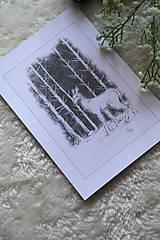 Kresby - Srnka medzi kmeňmi stromov Art Print - 11944694_