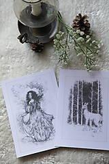 Kresby - Srnka medzi kmeňmi stromov Art Print - 11944709_