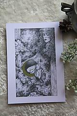 Kresby - Víla na krídlach nočných motýľov Art Print - 11945089_