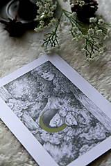 Kresby - Víla na krídlach nočných motýľov Art Print - 11945091_