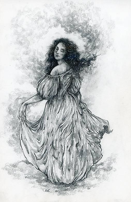 Princezná tancujúca v hmlách Art Print