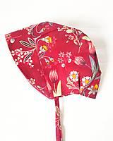 - Bavlnený čepček - Červené kvety - 11939910_
