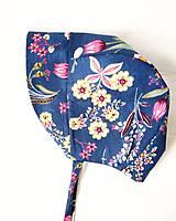 - Bavlnený čepček - Modré kvety - 11939941_