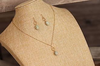 Sady šperkov - Súprava náušnice a retiazka z nerezu - akvamarín - 11940215_
