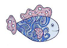 Kresby - Relaxačná ryba – z morských vĺn - 11944786_