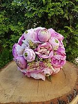 Kytice pre nevestu - svadobná kytica ružová, lila - 11947062_