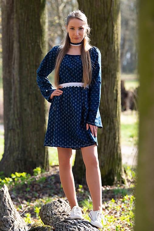 Šaty - Modrotlačové šaty  - 11946695_