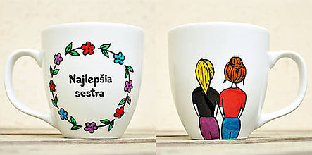 Nádoby - Maľovaný hrnček pre sestru (2 postavičky + text v kvetinovom krúžku) - 11948314_