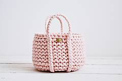 Dekorácie - Ručne pletený košík s rúčkami - ružový - 11948475_