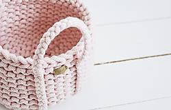 Dekorácie - Ručne pletený košík s rúčkami - ružový - 11948477_