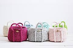 Dekorácie - Ručne pletený košík s rúčkami - ružový - 11948482_