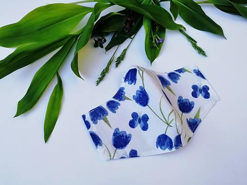 Dámske / dievčenské tvarované RÚŠKO s drôtikom - nové vzory II. (modré tulipány)