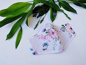 Rúška - Dámske / dievčenské tvarované RÚŠKO s drôtikom - nové vzory II. (jabloňové kvety) - 11948162_