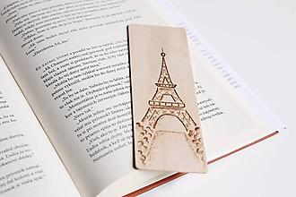"""Papiernictvo - Drevená záložka do knihy """"Eiffelova veža"""" - 11948925_"""