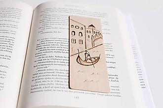 """Papiernictvo - Drevená záložka do knihy """"Gondolier v Benátkach"""" - 11948958_"""