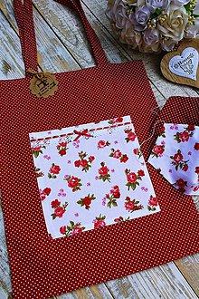 Nákupné tašky - Nákupná taška+ rúška ružička - 11945972_