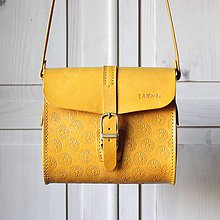 Kabelky - Kožená kabelka Little sunflowers messenger - 11945614_