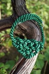 Náhrdelníky - Náhrdelník uzlový zelený - 11949016_