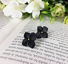 Náušnice - Náušnice čierny kvietok - 11946289_