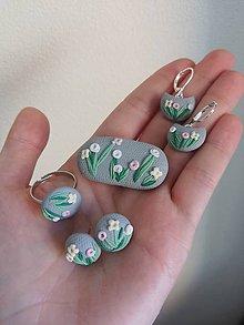 Náušnice - Elegantná kvetinová sivá sada LÚKA - 11948296_