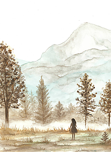 Obrázky - Dievča v krajine, maľba na akvarelovom papieri - 11946202_