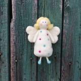 Dekorácie - Bodkovaný anjelik biely - 11949512_