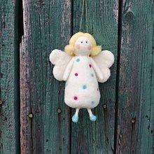 Dekorácie - Bodkovaný biely anjelik - 11949512_