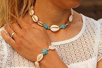 Náhrdelníky - Choker náhrdelník z mušlí a howlitu - 11946242_