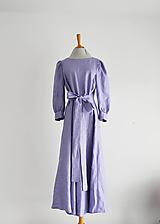 Šaty - Ľanovo-viskózne šaty s viazaním v páse - levanduľové - 11946235_