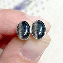Náušnice - Grey Cat Eye Silver Ag925 Mini Oval Earrings / Náušnice s mačacím okom synt.- striebro - 11953578_