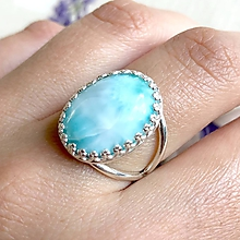 Prstene - Silver Natural Larimar Ring / Vintage prsteň s pravým larimarom v striebornom prevedení - 11953768_