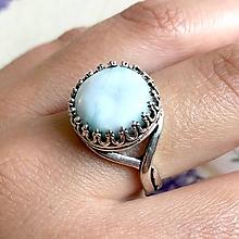 Prstene - Antique Larimar Ring / Elegantný vintage prsteň s larimarom - 11953800_