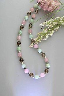 Náhrdelníky - amazonit , záhneda, ruženín a striebro náhrdelník - 11950205_