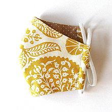 Rúška - Rúško dámske - Horčicovožltý ornament - 11952732_