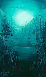 """Obrazy - """"Na jazere"""" MAĽBA  200cm x 100cm - 11954104_"""