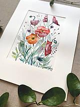 Obrazy - Maky - štúdia, originál akvarel - 11950347_