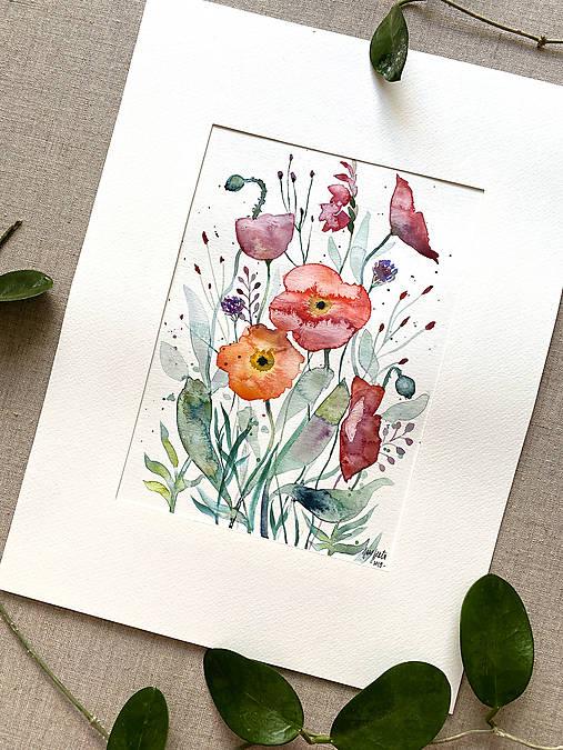 Maky - štúdia, originál akvarel