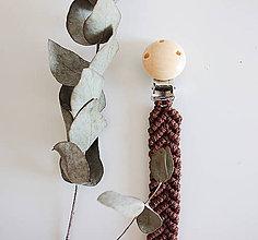 Detské doplnky - makramé držiak na cumlík  (natural klip s tmavo hnedou šnúrkou) - 11958111_