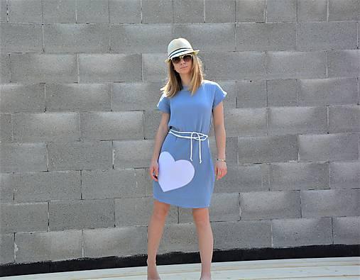 "Mušelínové šaty/tunika ""mama a dcéra"" ♥ Amalie Blue s opaskom"