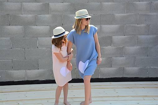 """Mušelínové šaty/tunika """"mama a dcéra"""" ♥ Amalie Pink s opaskom"""
