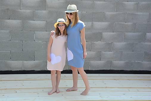 """Mušelínové šaty/tunika """"mama a dcéra"""" ♥ Amalie Pink/Blue s opaskom"""