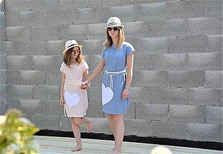 "Šaty - Mušelínové šaty/tunika ""mama a dcéra"" ♥ Amalie Blue s opaskom - 11955984_"