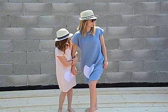 """Detské oblečenie - Mušelínové šaty/tunika """"mama a dcéra"""" ♥ Amalie Pink/Blue s opaskom - 11956119_"""