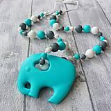 """Detské doplnky - Silikónový náhrdelník s vyberateľným slonom """"Matej"""" - 11955313_"""