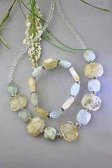 Sady šperkov - citrín a akvamarín náhrdelník a náramok súprava - 11957787_