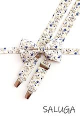 Doplnky - Pánsky motýlik a traky - ivory - smotanový - kvetinový - 11957776_